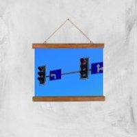 'Turn Left At The Traffic Lights Giclee Art Print - A4 - Wooden Hanger