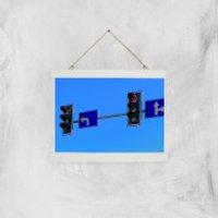 'Turn Left At The Traffic Lights Giclee Art Print - A4 - White Hanger