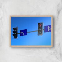 'Turn Left At The Traffic Lights Giclee Art Print - A4 - Wooden Frame