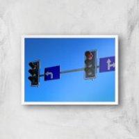 'Turn Left At The Traffic Lights Giclee Art Print - A4 - White Frame