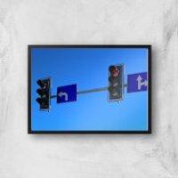 'Turn Left At The Traffic Lights Giclee Art Print - A4 - Black Frame
