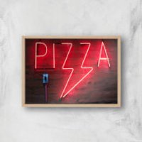 Neon Pizza Giclee Art Print - A3 - Wooden Frame - Takeaways Gifts