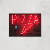 Neon Pizza Giclee Art Print - A2 - Print Only - Takeaways Gifts