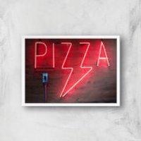 Neon Pizza Giclee Art Print - A2 - White Frame - Takeaways Gifts
