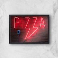 Neon Pizza Giclee Art Print - A2 - Black Frame - Takeaways Gifts