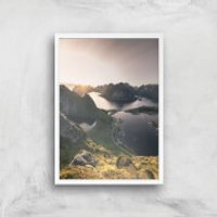 Lakes Amongst Mountains Giclee Art Print - A2 - White Frame