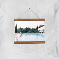 Pool Side Giclee Art Print - A4 - Wooden Hanger - Pool Gifts