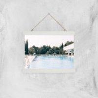 Pool Side Giclee Art Print - A4 - White Hanger - Pool Gifts