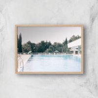 Pool Side Giclee Art Print - A4 - Wooden Frame - Pool Gifts