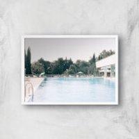Pool Side Giclee Art Print - A4 - White Frame - Pool Gifts