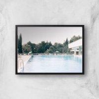 Pool Side Giclee Art Print - A4 - Black Frame - Pool Gifts