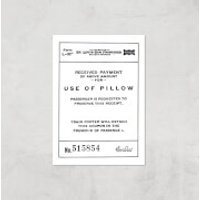 Use Of Pillow Ticket Giclee Art Print - A4 - Print Only - Pillow Gifts