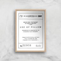Use Of Pillow Ticket Giclee Art Print - A4 - Wooden Frame - Pillow Gifts