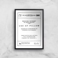 Use Of Pillow Ticket Giclee Art Print - A4 - Black Frame - Pillow Gifts