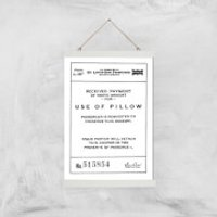Use Of Pillow Ticket Giclee Art Print - A3 - White Hanger - Pillow Gifts