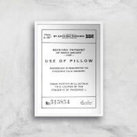 Use Of Pillow Ticket Giclee Art Print - A2 - White Frame - Pillow Gifts