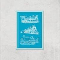 Train Diagram Giclee Art Print - A2 - Print Only - Train Gifts