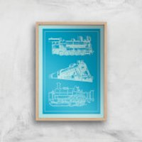 Train Diagram Giclee Art Print - A2 - Wooden Frame - Train Gifts