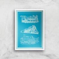 Train Diagram Giclee Art Print - A2 - White Frame - Train Gifts