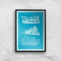 Train Diagram Giclee Art Print - A2 - Black Frame - Train Gifts