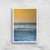 Sunset Surf Giclee Art Print - A3 - White Frame - Surf Gifts