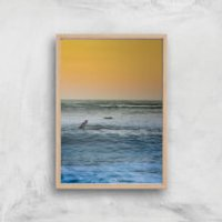 Sunset Surf Giclee Art Print - A2 - Wooden Frame - Surf Gifts