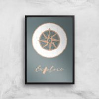 Compass Explore Giclee Art Print - A4 - Black Frame