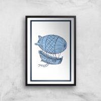 Blue Hot Air Balloon Giclee Art Print - A4 - Black Frame