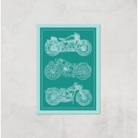 Motorbike Diagram Giclee Art Print - A4 - Print Only - Motorbike Gifts