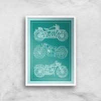 Motorbike Diagram Giclee Art Print - A4 - White Frame - Motorbike Gifts