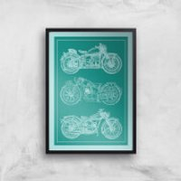 Motorbike Diagram Giclee Art Print - A4 - Black Frame - Motorbike Gifts