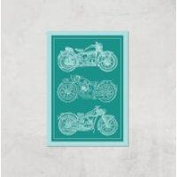 Motorbike Diagram Giclee Art Print - A3 - Print Only - Motorbike Gifts