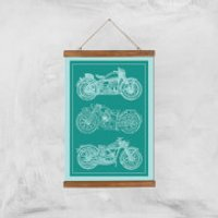 Motorbike Diagram Giclee Art Print - A3 - Wooden Hanger - Motorbike Gifts