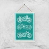 Motorbike Diagram Giclee Art Print - A3 - White Hanger - Motorbike Gifts