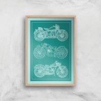 Motorbike Diagram Giclee Art Print - A3 - Wooden Frame - Motorbike Gifts