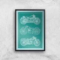 Motorbike Diagram Giclee Art Print - A3 - Black Frame - Motorbike Gifts