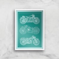 Motorbike Diagram Giclee Art Print - A2 - White Frame - Motorbike Gifts