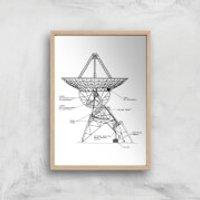 Radar Dish Giclee Art Print - A2 - Wooden Frame