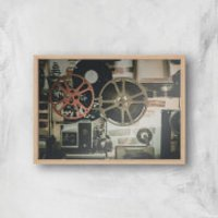 Film Reel Giclee Art Print - A4 - Wooden Frame - Film Gifts