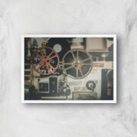 Film Reel Giclee Art Print - A4 - White Frame - Film Gifts
