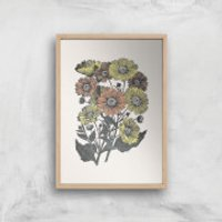 Yellow And Orange Flowers Giclee Art Print - A4 - Wooden Frame - Flowers Gifts