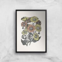 Yellow And Orange Flowers Giclee Art Print - A2 - Black Frame - Flowers Gifts