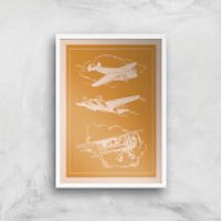 Aeroplane Diagram Giclee Art Print - A4 - White Frame - Aeroplane Gifts