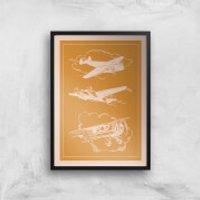 Aeroplane Diagram Giclee Art Print - A4 - Black Frame - Aeroplane Gifts