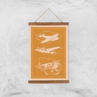 Aeroplane Diagram Giclee Art Print - A3 - Wooden Hanger - Aeroplane Gifts
