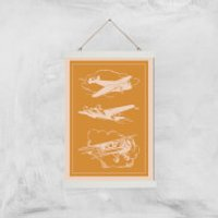 Aeroplane Diagram Giclee Art Print - A3 - White Hanger - Aeroplane Gifts