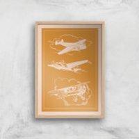 Aeroplane Diagram Giclee Art Print - A2 - Wooden Frame - Aeroplane Gifts