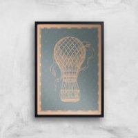 Hot Air Balloon Giclee Art Print - A4 - Black Frame - Hot Air Balloon Gifts