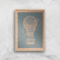 Hot Air Balloon Giclee Art Print - A3 - Wooden Frame - Hot Air Balloon Gifts