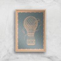 Hot Air Balloon Giclee Art Print - A2 - Wooden Frame - Hot Air Balloon Gifts